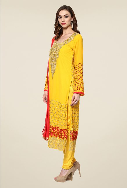 Yepme Yellow Helga Semi Stitched Suit Set