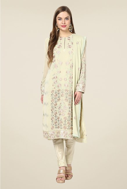 Yepme Beige Ceren Semi Stitched Suit Set