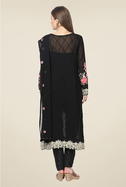 Yepme Black Ceren Semi Stitched Suit Set