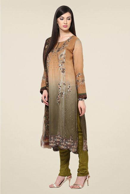 Yepme Beige & Grey Ceren Semi Stitched Suit Set