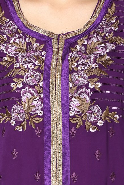 Yepme Purple Ceren Semi Stitched Suit Set
