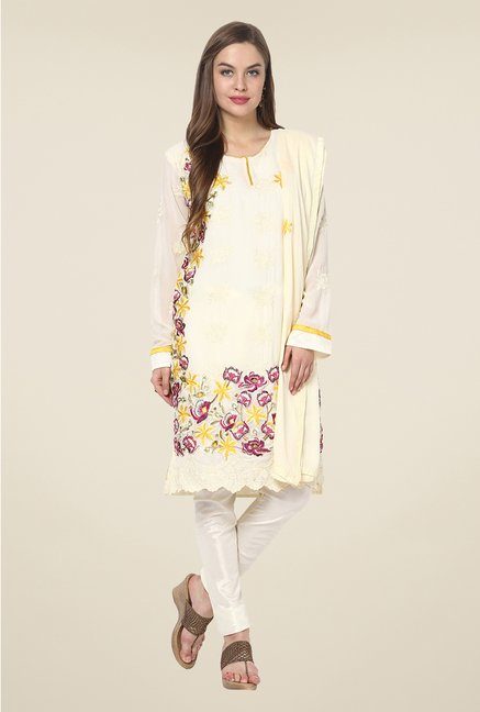 Yepme Ecru Ceren Semi Stitched Suit Set
