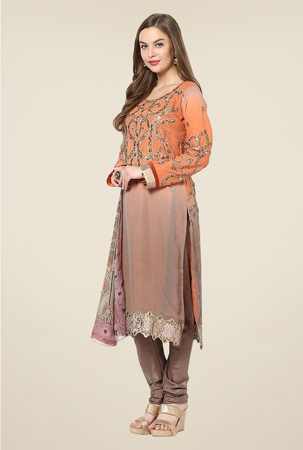 Yepme Orange & Grey Ceren Semi Stitched Suit Set