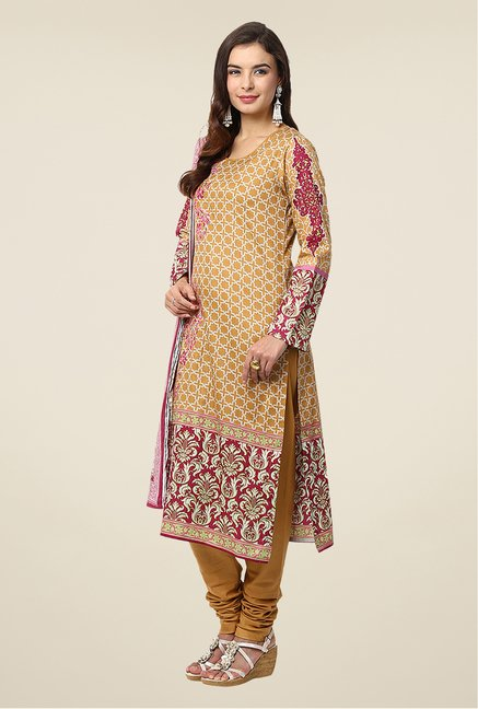 Yepme Mustard Nazia Semi Stitched Pakistani Suit Set