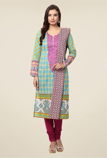 Yepme Blue & Maroon Nazia Semi Stitched Pakistani Suit Set