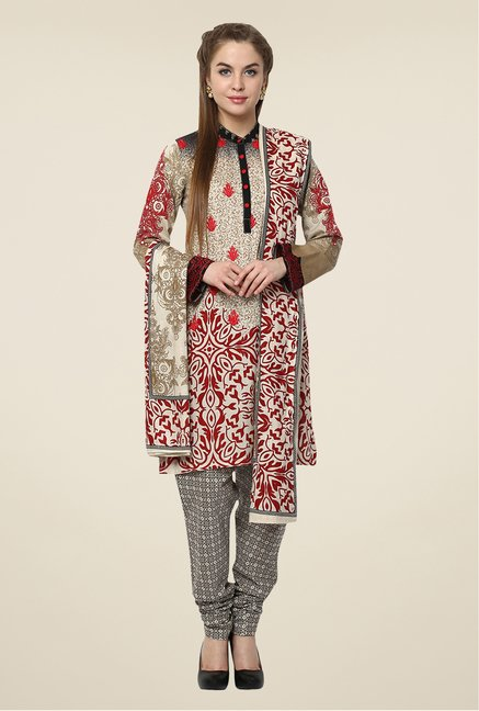 Yepme Grey Nazia Semi Stitched Pakistani Suit Set