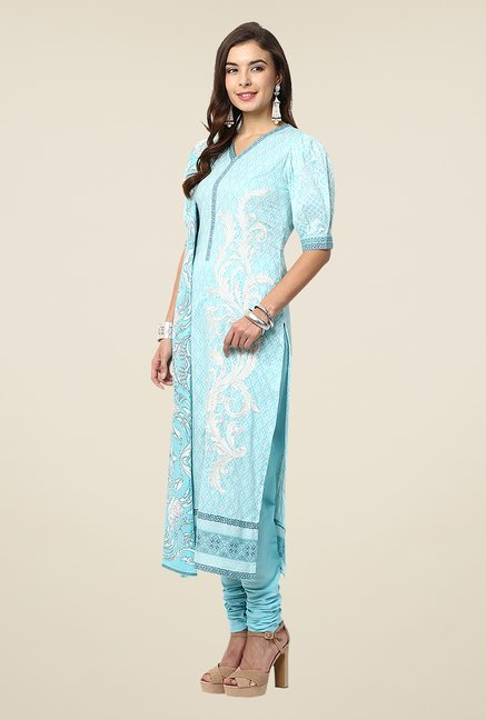 Yepme Blue Nazia Semi Stitched Pakistani Suit Set