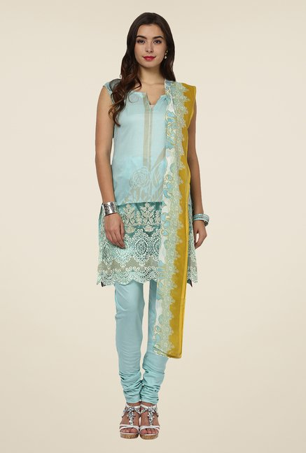 Yepme Blue Anaya Semi Stitched Pakistani Suit Set