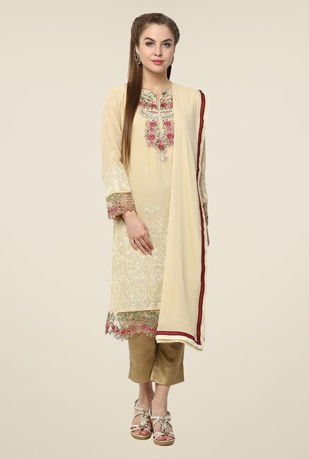 Yepme Off White Amina Semi Stitched Pakistani Suit Set