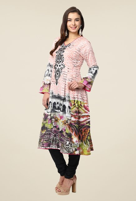 Yepme Peach Candice Semi Stitched Pakistani Kurti Set
