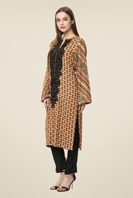 Yepme Brown Lovate Semi Stitched Pakistani Kurti Set
