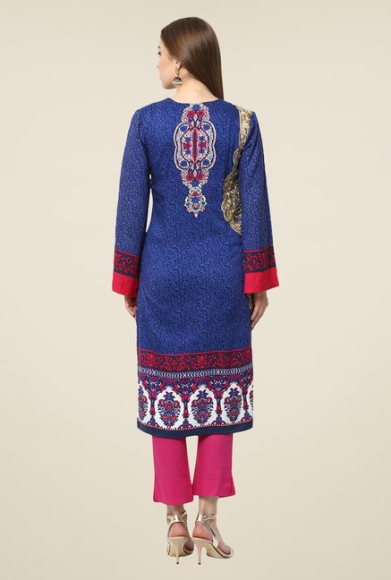 Yepme Blue & Pink Lovate Semi Stitched Pakistani Kurti Set