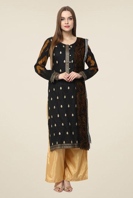 Yepme Black Nuzen Semi Stitched Pakistani Suit Set