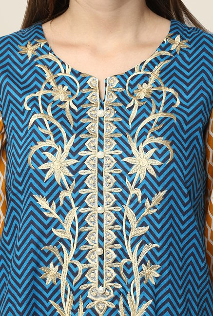 Yepme Blue & Yellow Nuzen Semi Stitched Pakistani Kurti Set