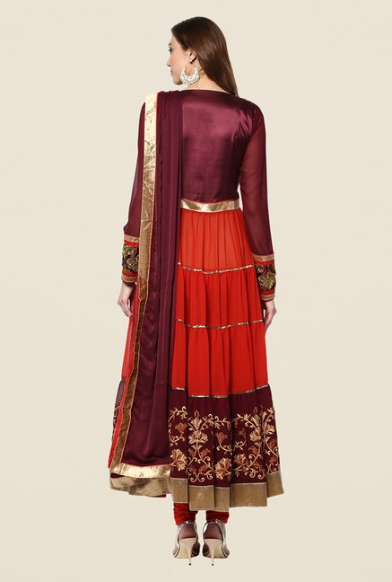 Yepme Maroon & Red Whitley Semi Stitched Suit Set