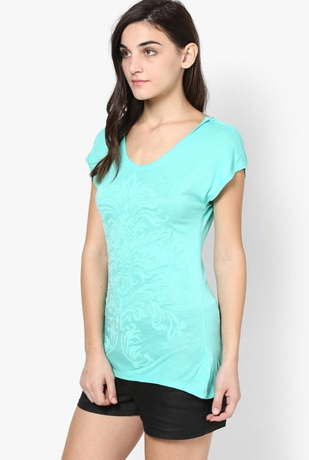 Only Turquoise Self Print Top