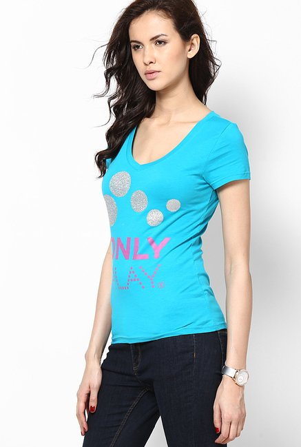 Only Turquoise Printed Top