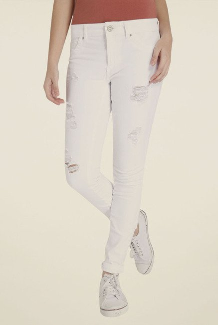 Only White Distressed Jeans