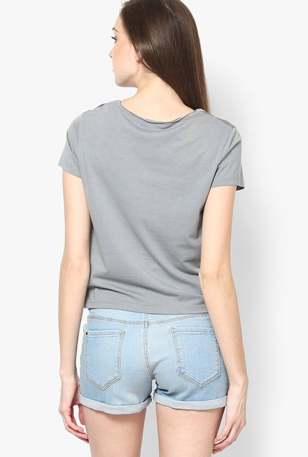 Only Grey Printed Crop Top