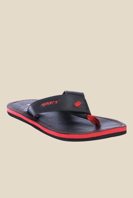 Sparx Black & Red Flip Flops