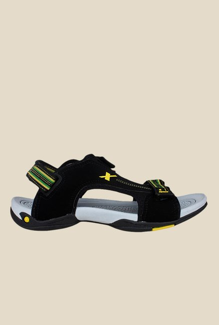 Sparx Black & Yellow Floater Sandals