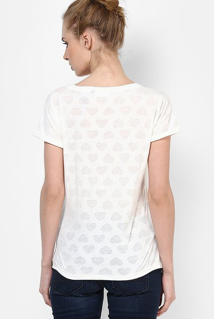 Only White Printed Top