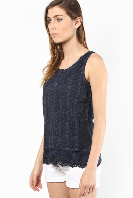 Only Navy Lace Top