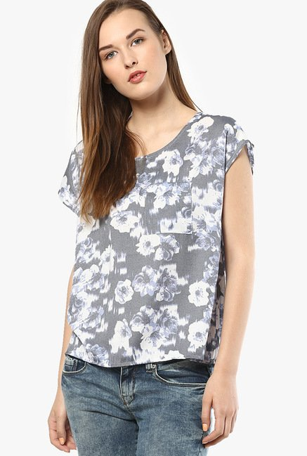 Only Grey Floral Print Top