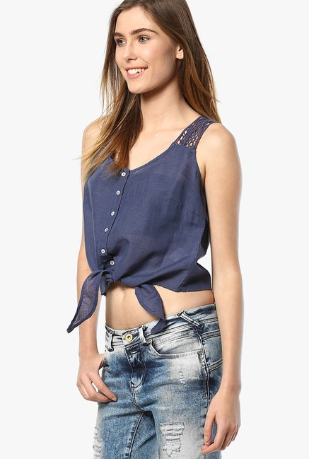 Only Blue Solid Crop Top