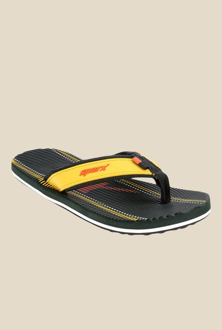 Sparx Yellow & Black Flip Flops