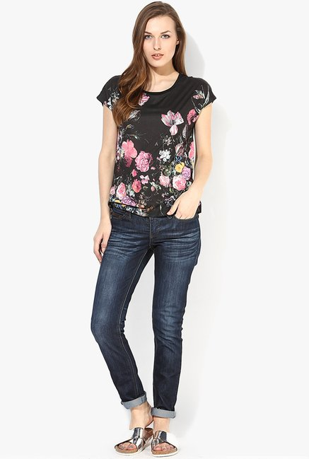 Only Black Floral Print Top