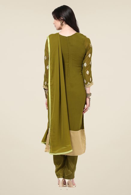 Yepme Romana Olive Green Embroidered Unstitched Suit Set
