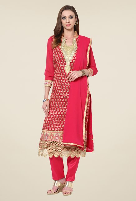 Yepme Romana Red Embroidered Unstitched Suit Set
