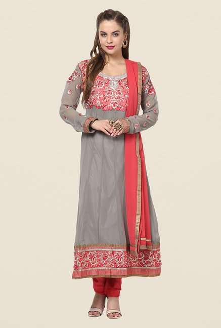 Yepme Chante Grey & Pink Unstitched Suit Set