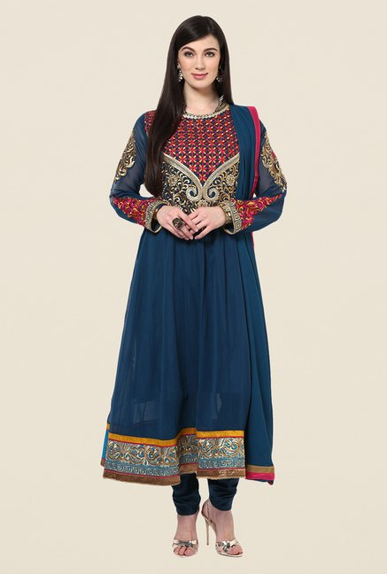 Yepme Bailey Navy Embroidered Unstitched Suit Set
