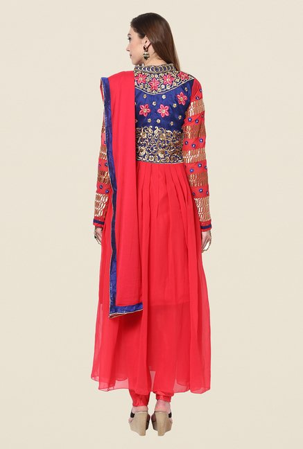 Yepme Bailey Pink Embroidered Unstitched Suit Set