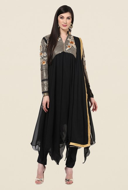 Yepme Bailey Black Embroidered Unstitched Suit Set