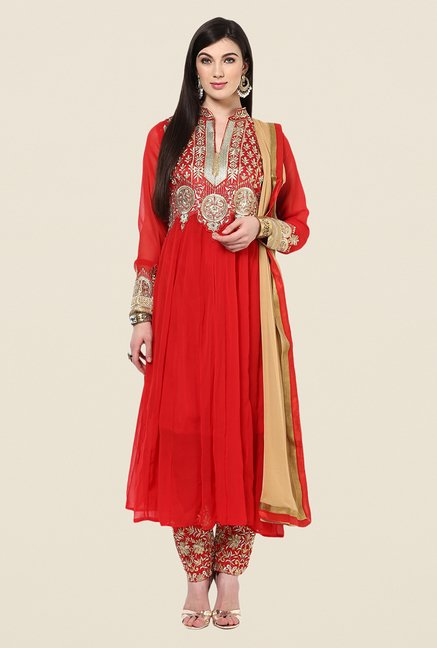 Yepme Bailey Red Embroidered Unstitched Suit Set