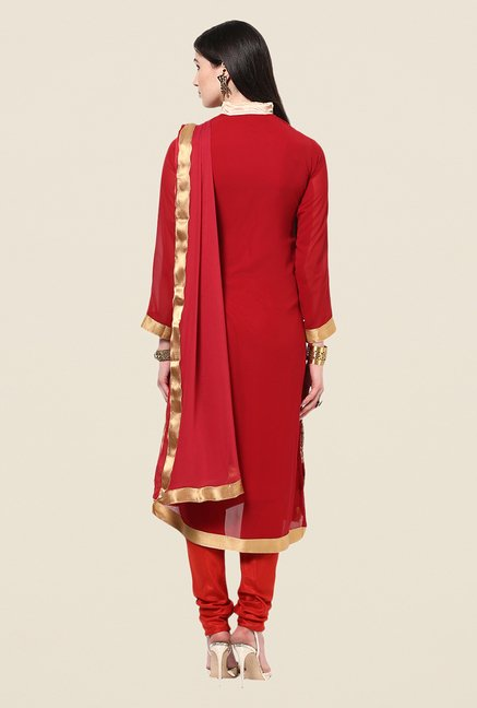 Yepme Barabal Red Unstitched Suit Set