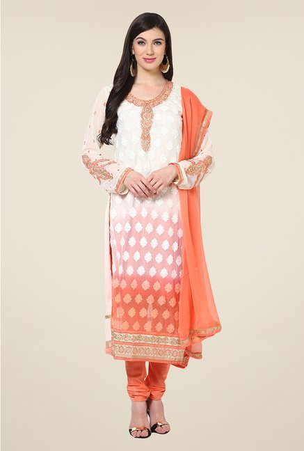 Yepme Belgin Off-white & Orange Unstitched Suit Set