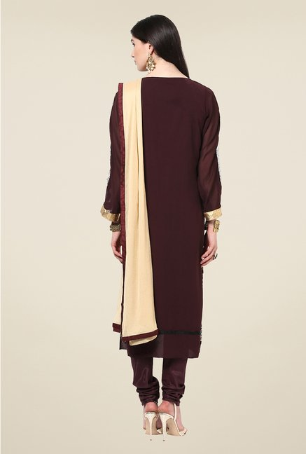 Yepme Sakui Brown Unstitched Suit Set