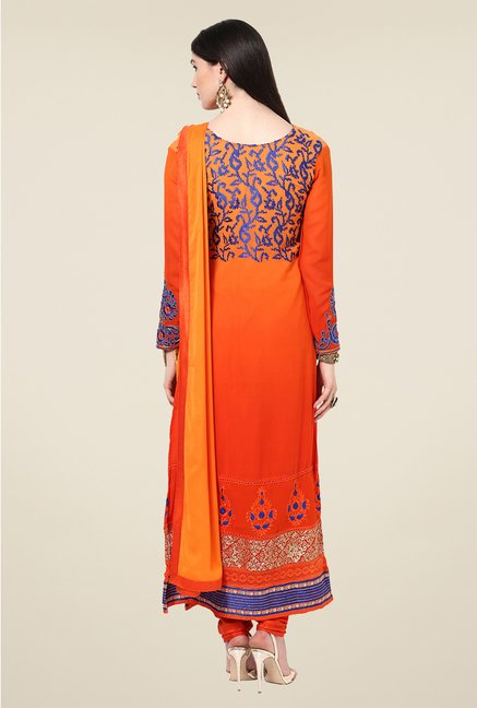 Yepme Helga Orange Unstitched Suit Set