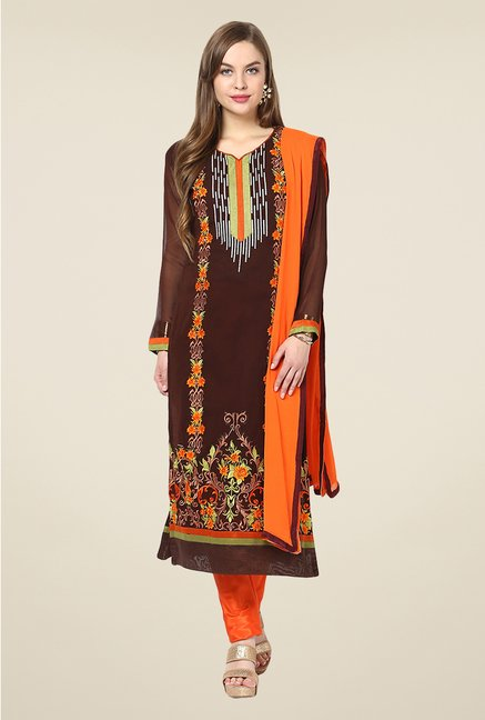 Yepme Cadence Brown & Orange Unstitched Suit Set