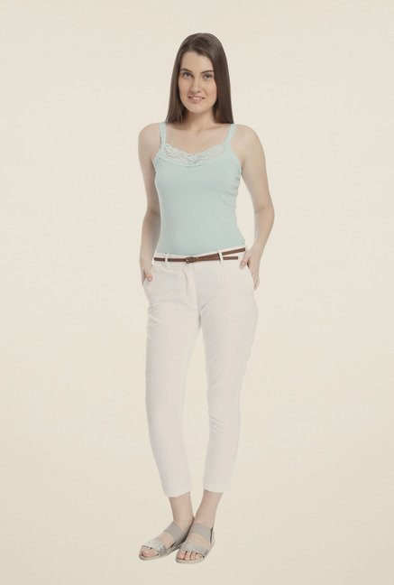 Vero Moda White Solid Chinos