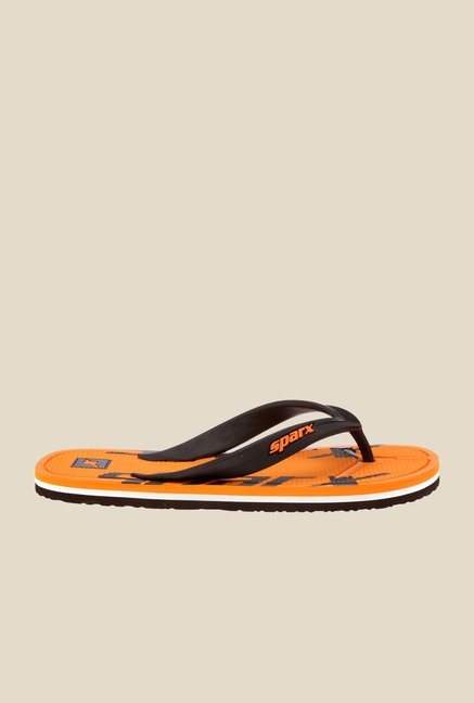 Sparx Brown & Orange Flip Flops