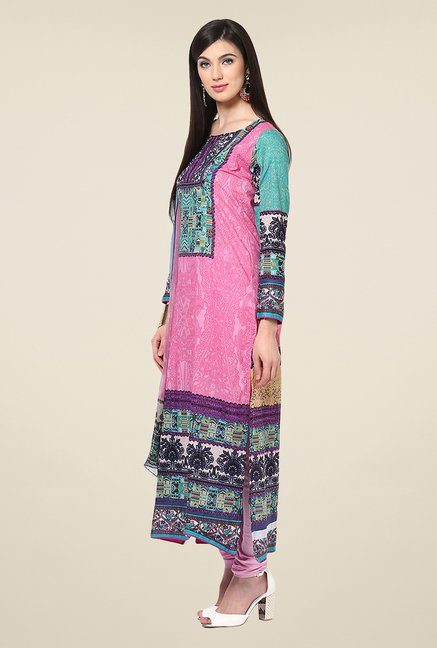 Yepme Calista Pink & Green Unstitched Suit Set