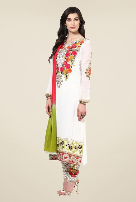 Yepme Felecia White Unstitched Suit Set