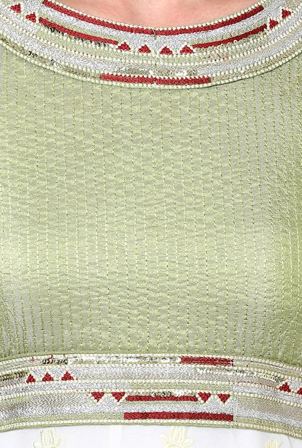 Yepme Palma White & Green Unstitched Suit Set