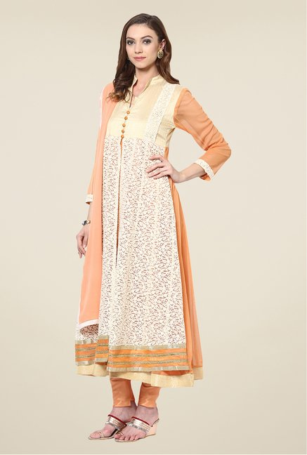 Yepme Palma Beige & Peach Unstitched Suit Set