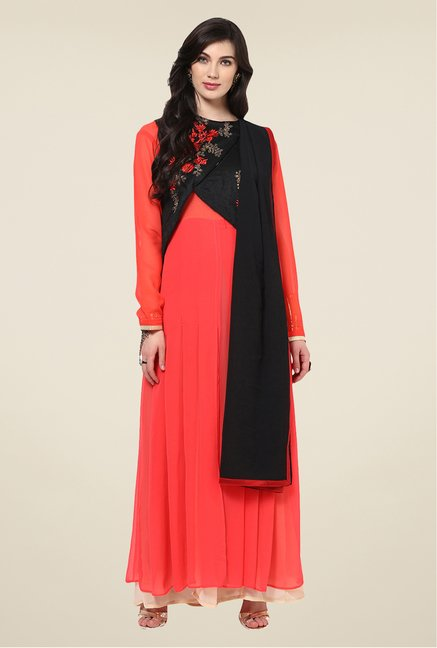 Yepme Palma Coral & Black Unstitched Suit Set